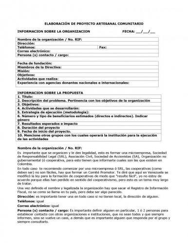Documento Elaboraci N De Proyecto Artesanal Comunitario