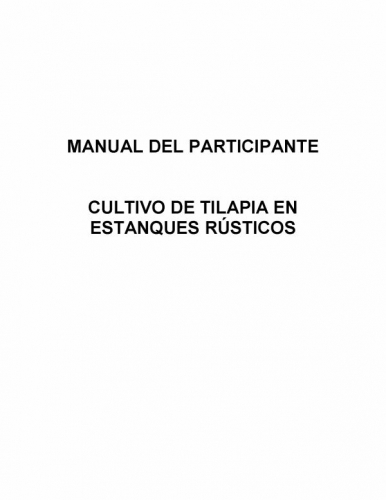 Documento manual del cultivo tilapia estanques rusticos for Estanques rusticos
