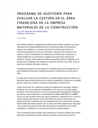 Documento programa de auditor a para evaluar la gesti n en el rea financiera de la empresa - Empresas de materiales de construccion ...
