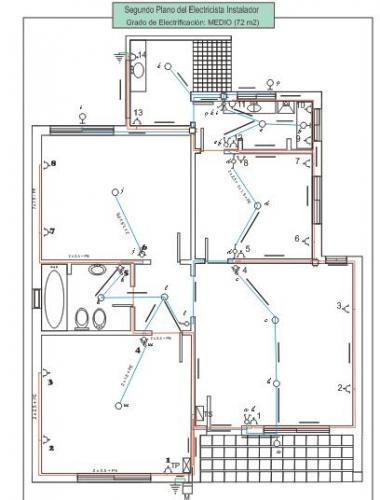 ...Plano del Electricista sobre una casa modelo.