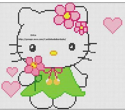 Hello Kitty en punto de cruz - Imagui