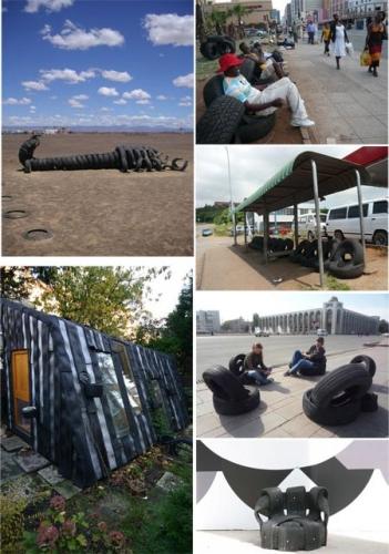 Reciclando cauchos (ruedas de los carros)