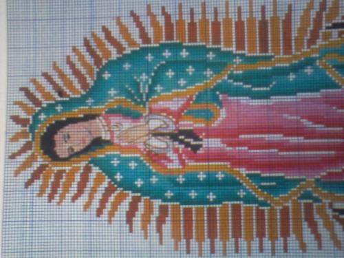 Imágen de la Virgen de Guadalupe en punto de cruz - Imagui